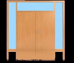 Sperrtüren im Glaswandsystem für Innenanwendung 2-flügelig