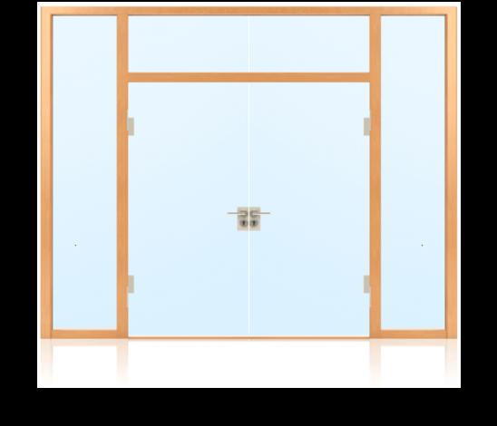 Ganzglastüren im Glaswandsystem für Innenanwendung 2-flügelig